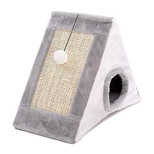 LuoMei Cat Playing with Tunnel Toy and Ball Cat Scratching Board Natural Captured Toy Small Cat House Cat Climbing Frame Scratching BoardD6, 55x27x50cm