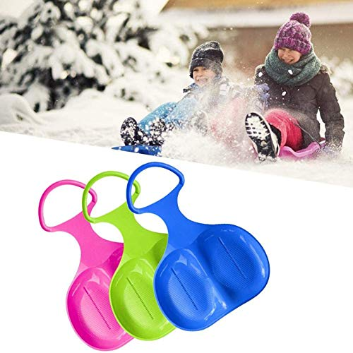 3 Piezas de Trineo de Nieve de plástico para niños, Trineo Deslizante para niños, Trineo de Nieve con Mango, Tabla de esquí para niños, para niños, Adultos (Color Aleatorio)