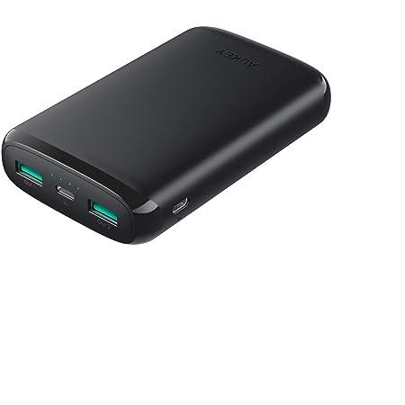 モバイルバッテリー 大容量 10000mAh AUKEY PSE認証済み スマホ充電器 Micro/Lightning入力 2ポート USB充電器 iPhone X/iPhone 8/iPhone 7 Plus/iPhone 7 / Samsung Galaxy/Huawei/Sony など対応 PB-N64