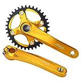 Bielas y Plato de Una Sola Velocidad de Bicicleta para Shimano Sram Sunrun ( Color : Oro )