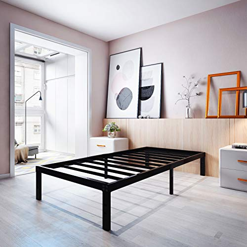 Homdock 14 Inch Metal Platform Bed Frame/Sturdy Strong Steel Structure 3000 lbs Heavy Duty/Noise Free/None Slip Mattress Foundation/No Box Spring Needed/Black Finish, Twin XL