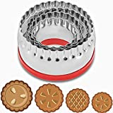 COOKIEQUE 4-Pieces Fluted Round Cookie Cutters, Metal Circle Biscuit Cutters Set, Wave Cookies Cutter with Fluted Edge, Unique Design with Protective Red Top PVC