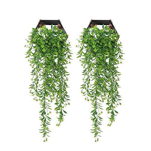 YGSAT 2 Stk Künstliche Ivy Vine|Künstliche Aufhängen Vine|Kunstpflanze Efeu|Wanddekoration Efeuranke|Hängende Rebe|Hängend Hängepflanzen Für Draussen Balkon Topf Hochzeit Garten Deko|Grün