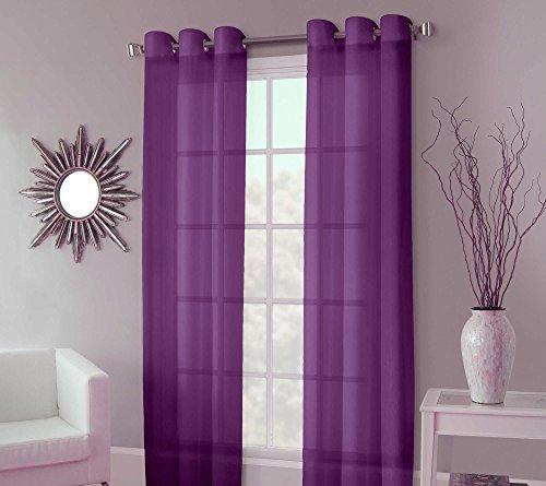 "GorgeousHomeLinenDifferent Sizes Ruby 2 Pc Plum Sheer Window Curtains Drape Voile Panels 8 Soild Bronze Grommets 55"" Wide x 63"" 84"" 95"" Length (63"" Length)"