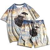 Moda para Hombre, Verano, Estampado en 3D, Serie de Perros, patrón, Camiseta, Traje, Hombres y Mujeres, Camiseta Casual de Dos Piezas + Pantalones de Playa-E_S