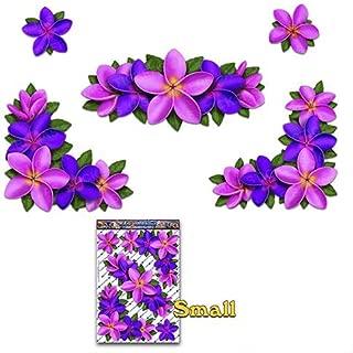 紫ピンクプルメリアの花コーナー車ステッカーデカールラップトップ、自転車、キャラバン、トラック、ボート用の大きなパック-ST00045PP_LGE-JASステッカー