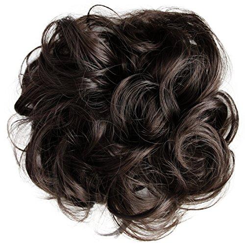 PRETTYSHOP XL Haarteil Haargummi Hochsteckfrisuren Brautfrisuren Voluminös Gelockt Unordentlich Dutt Braun G4E