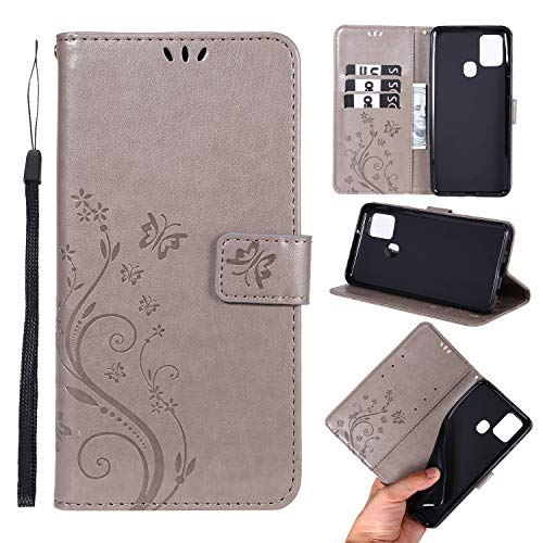samanoya Handyhülle Samsung A21s, Samsung A21s PU Leder Hülle,mit Magnetverschluss Kreditkarten & Standfunktion Lederhülle Handytasche für Samsung Galaxy A21s (Galaxy A21s, Grey)