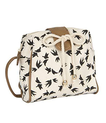 SIX Damen Handtasche, Mini Bag zum umhängen in beige mit schwarzen Vögeln, verdeckter Druckknopf, braune Henkel, Schleife aus Tau (726-723)