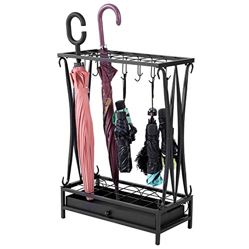 MyGift Modern Black Metal 21-Slot Freestanding Umbrella Stand Holder Storage Rack with 12 Hooks and Removable Base Drip Tray