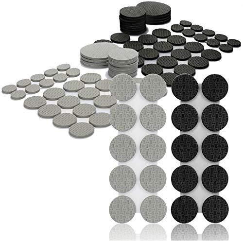 COM-FOUR® 100-delige meubelglijderset - zelfklevende stoelglijders gemaakt van rubber schuim - antislip viltglijders in verschillende maten