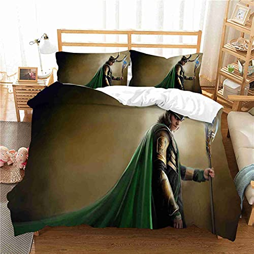 WHSNA Marvel Comics Avengers - Set di biancheria da letto per bambini, copripiumino e federe, in microfibra, stampa digitale 3D, set di biancheria da letto (2,200 x 200 cm)