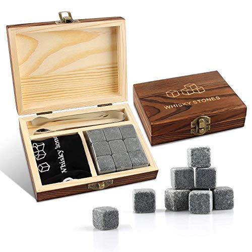 Whisky Steine Set, 9 Stück Whisky Kühlsteine | Wiederverwendbare Granitsteine | Hohe Kühltechnologie | Luxus Whisky Steine Geschenkset mit Holzbox, Zange & Samtbeutel | für Gin, Whiskey, Rum