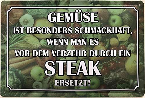Deko7 blikken bord 30 x 20 cm Groente is bijzonder smaakvol, als men het voor het eten door een steak vervangt