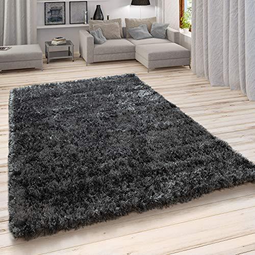 Paco Home Hochflor Teppich, Weicher Moderner Wohnzimmer Shaggy in Flokati Optik, Einfarbig, Grösse:100x200 cm, Farbe:Anthrazit