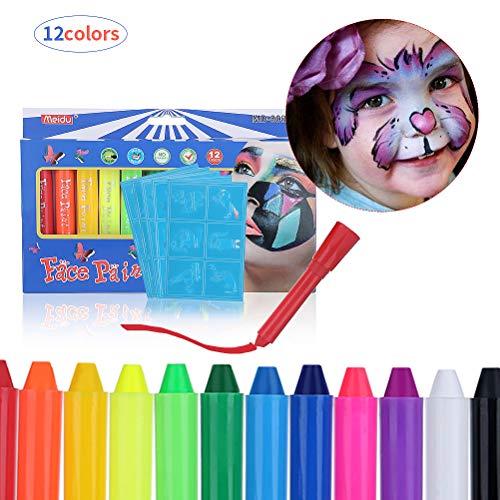 Kinderschminke Set, Bodypainting Schminke   Schminkstifte Kit Körperfarben Materialien 12 große waschbare Farben 8 Schablonen