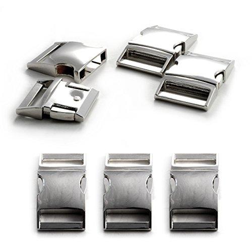 Klickverschluss aus Metall im 3er Set, 1'' Klippverschluss/Steckschließer/Steckverschluss für Paracord-Armbänder, Hunde-Halsbänder, Rucksack, Farbe: Silber