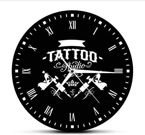youmengying Co.,ltd Relojes De Pared Estudio De Tatuajes Máquina De Tatuaje Reloj De Pared Moderno Salón De Tatuajes Decoración De La Tienda Reloj Redondo Negro Reloj Hipster Hombres Tatuador Regalo