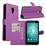 Tasche für Wiko Robby (5.5 zoll) Hülle, Ycloud PU Ledertasche Flip Cover Wallet Case Handyhülle mit Stand Function Credit Card Slots Bookstyle Purse Design lila