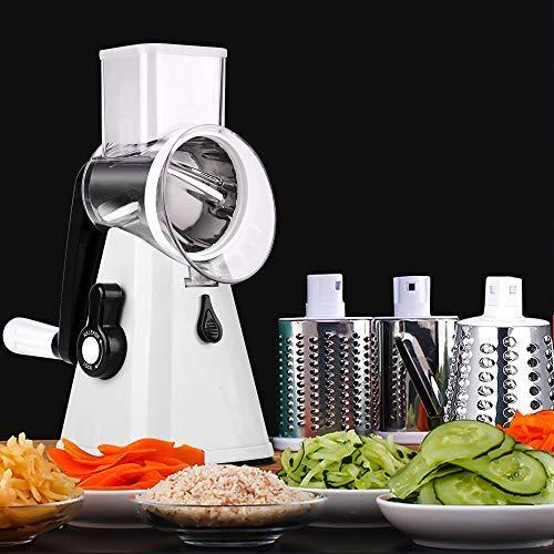 YU YUSING Gemüseschneider Gemüsehobel Trommelreibe Käsemühle - 3 in 1 Manuelle Multi Reibemaschine mit 3 Edelstahl Trommeleinsätze (Weiß)