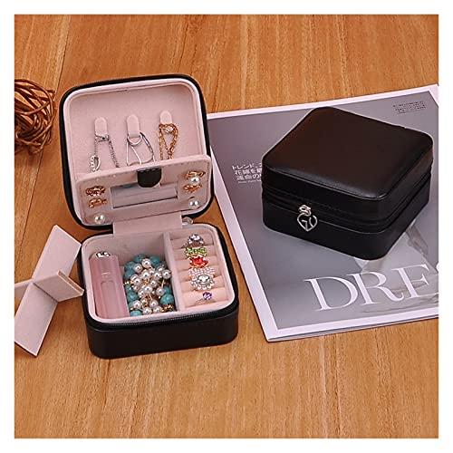 Almacenamiento de joyas Color de caramelo de cuero a prueba de agua portátil Caja de almacenamiento Caja de almacenamiento Soporte de anillo Flannel Multi función de la joyería Accesorios de casa