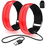 lanpard 2pcs Brazalete LED Recargable con Banda Reflectante Running, Luz para Correr Andar Ciclismo (Cable USB y Bolsa incluidos) - Elástico Rojo