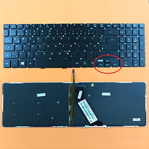 kompatibel für Acer Aspire V5-572G Tastatur - Farbe: schwarz - mit Hintergrundbeleuchtung - ohne Rahmen - Deutsches Tastaturlayout