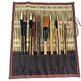Set di pennelli per calligrafia cinese, set di pennelli per scrittura professionale giapponese Kanji e disegno Sumi con supporto arrotolabile in bambù, 11 pezzi