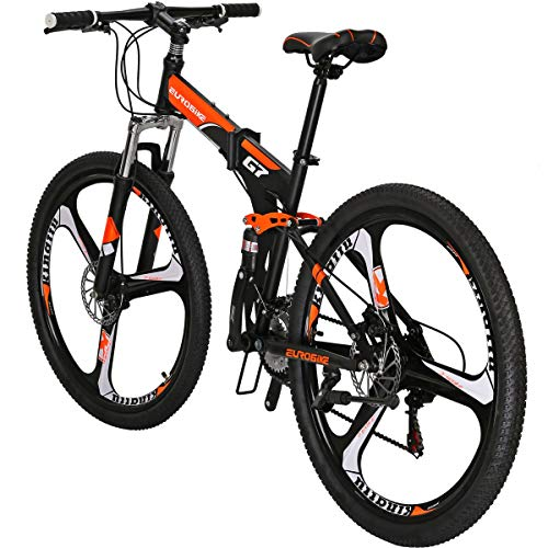 Eurobike Mountain Bike G7 Bicycle 21 Speed Dual Suspension 27.5 Inches Wheels Folding Bike (3-Spoke Wheel Orange)