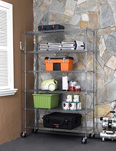 Metal Shelf 6 Tier Heavy Duty Wire Shelving Unit with Wheels,NSF Storage Rack,Adjustable Commercial Grade Utility Shelf Rack,Rolling Steel Rack for Kitchen Garage Restaurant,48' x 18' x 82',Chrome