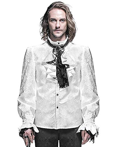 Devil Fashion Gótico para Hombre Camiseta Blanco Steampunk Regency Aristocrat + Pañuelo