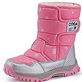 SAGUARO® Niños Botas de Nieve Impermeable Bota de Invierno Zapatos Calientes (28 EU, Rosado)