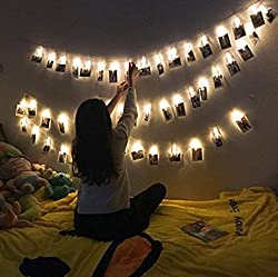 college student Christmas list string led lights with photo clips