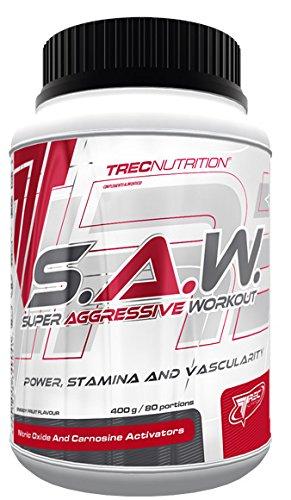 Trec Nutrition S.A.W. Muskelaufbau maximierter Fokus und massiver Pump Energy Sport Kreatin Bodybuilding 400g Dose (Blackcurrant Lemon- Blackcurrant-Lemon