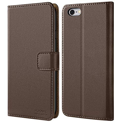 HOOMIL iPhone 6 Wallet Case,iPhone 6s Case,iPhone 6 Case,Premium Leather Folio iPhone 6s Wallet Case,Flip Cover with Full Body Protection,Stand,Card Slot and Cash Pocket for iPhone 6S/6 (Dark Brown)