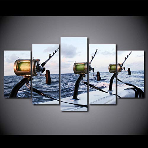 HD Leinwand Wandkunst Seeangler Vlies Leinwanddruck Bild Kunstwerk Malerei Bild Foto Familie 5 Stücke Angler