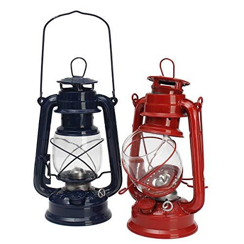 CALALEIE Lámpara de aceite vintage Linterna Keroseno Parafina Lámpara de huracán Luz Acampar al aire libre Accesorios de luz al aire libre (Color : Red)