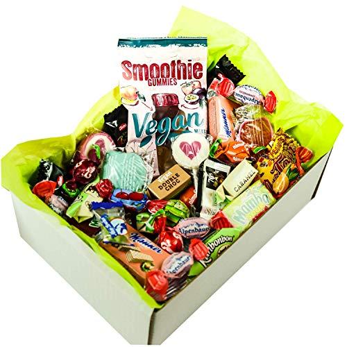 Süßigkeiten Mix Vegan Ostern Geschenk Box mit Schokolade, Bonbons, Lutschern, Retro Sweets uvm. (1 x 710g)