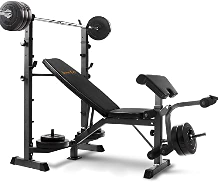 Everfit Muti-station Weight Bench and 58KG Barbell Set Adjustable Fitness Exercise 300KG Capacity Home Gym Equipment Flat Incline Decline Bench Press Leg Curl Chest Flys Extensions Military