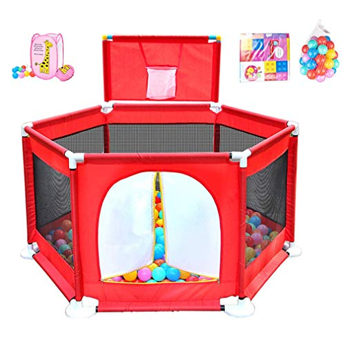Baby Playpen, Portable Safety Kids Playard for Infants - with Mini Basketball Hoop and Ball,Crawling Mat,Storage Basket,Door - Compact Best Fence for Indoor Outdoor