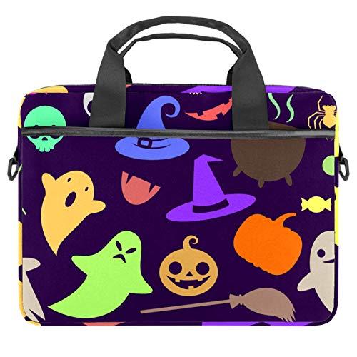 Lindo silueta de Halloween] Bolsa de mensajero para ordenador portátil con bandolera bandolera para ordenador y tableta de 13.4-14.5 pulgadas