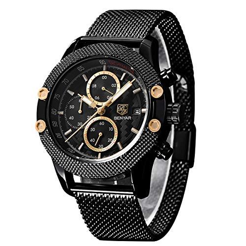 BENYAR - Reloj cronógrafo para Hombre | Movimiento de Cuarzo | Fashion Business Sports Watch | 30M Impermeable y Rasguño Cada ocasión (Negro 8)