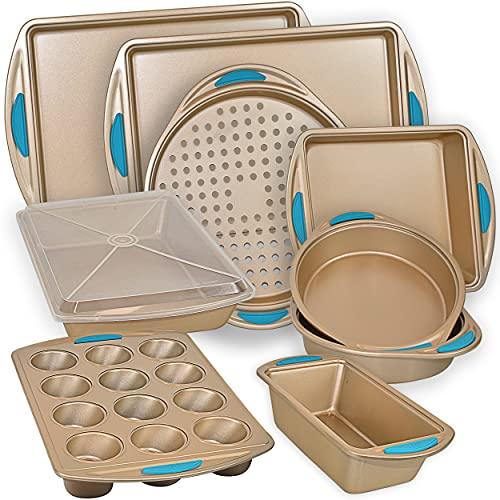PERLLI Nonstick Bakeware Set Baking Pan Set, 10 Piece Heavy Duty Professional Kitchen Baking Pans Cookie Sheet Set Home Chef Cooking Baking Set, Gold Baking Pans with Blue Silicone Handles