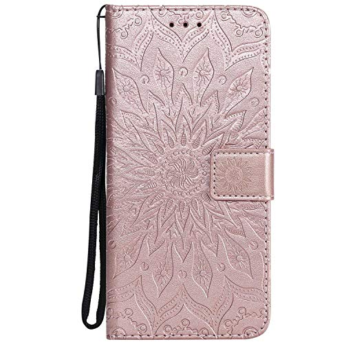 KKEIKO Hülle für Huawei Honor 8X, PU Leder Brieftasche Schutzhülle Klapphülle, Sun Blumen Design Stoßfest Handyhülle für Huawei Honor 8X - Roségold