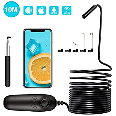 MIKOSI Wireless Endoscope, 1200P Semi-Rigid Flexible, IP67 WiFi Borescope Inspection 2.0 Megapixels HD Snake Camera for Android and iOS Smartphone, iPhone, Samsung, iPad, Tablet (10M/33FT)