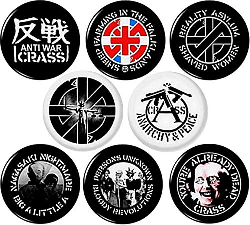 "CRASS x 8 1"" inch (25 mm) Button pins Badges Anarchy Peace Punk Anti war Records Sheep Nagasaki"