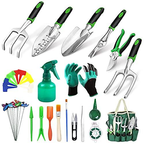 Juego de herramientas de jardín Herramientas de jardín de alto rendimiento de 38 piezas, equipadas con guantes de jardín, tijeras de podar, bolsa de jardín, pala de jardín, accesorios para bonsáis