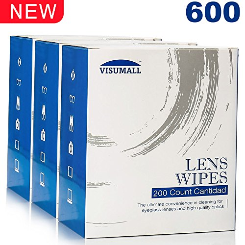 Lens Cleaning Wipes,Disposable,Quick Drying,Streak Free,Individually Wrapped,Cleansing Cloths Great for Eyeglasses,Tablets,Camera Lenses,Screens,Keyboards-Pack of 600