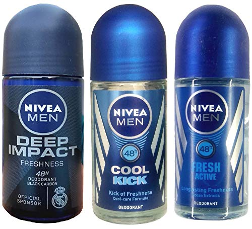 Nivea Roll-on Deodorant Deep Impact + Cool Kick + Fresh Active 50ml each
