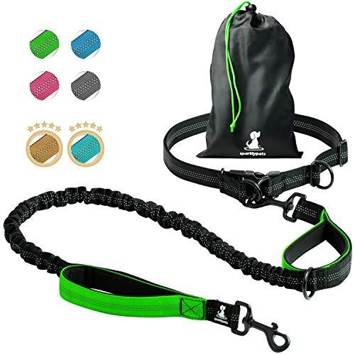 Joggingleine für Hunde zum Laufen, Joggen, Wandern | 2 in 1 Joggingleine und Normale Hundeleine für Große und Mittelgroße Hunde mit Doppelgriff | Bauchgurt Hundeleine mit Reflektierenden Nähten